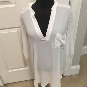 White sheer tunic